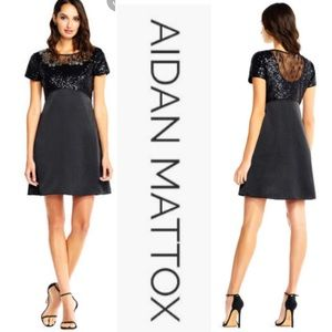 Aidan Mattox sequin and lace party dress